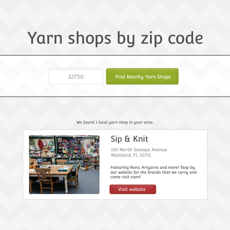 A Pretend yarn shop location finder