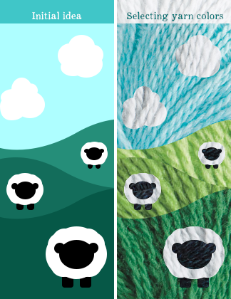 Sheep in a pasture illustration