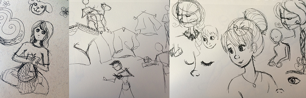 Sketches of knitting and shearing