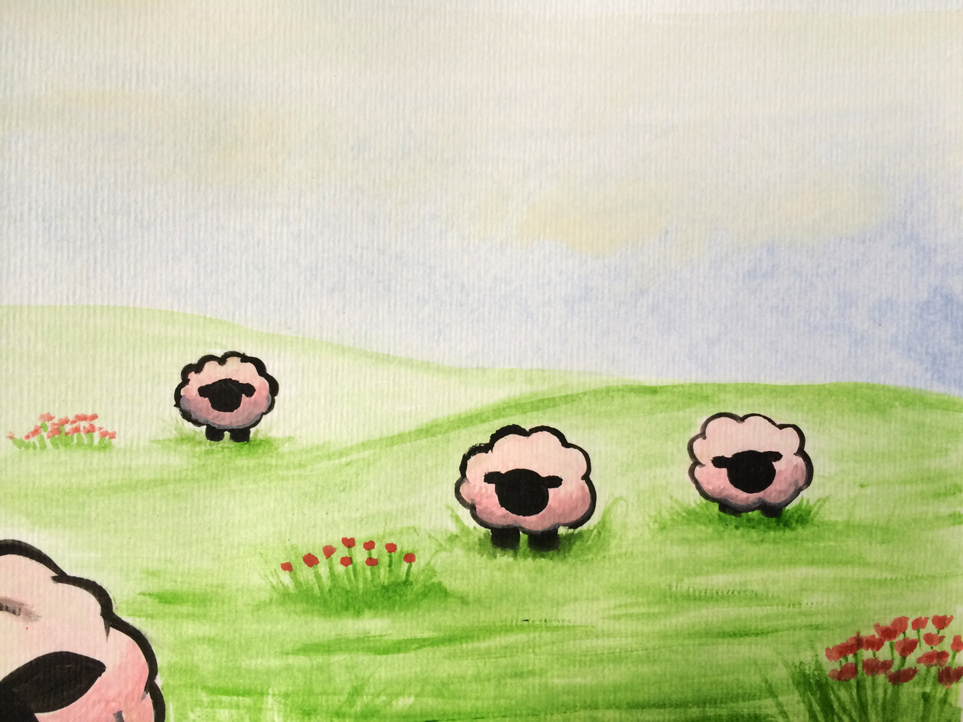 Watercolor painting of sheep