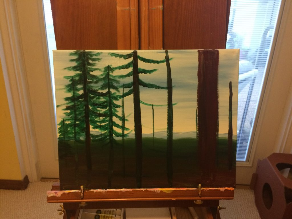 Half-finished painting of trees