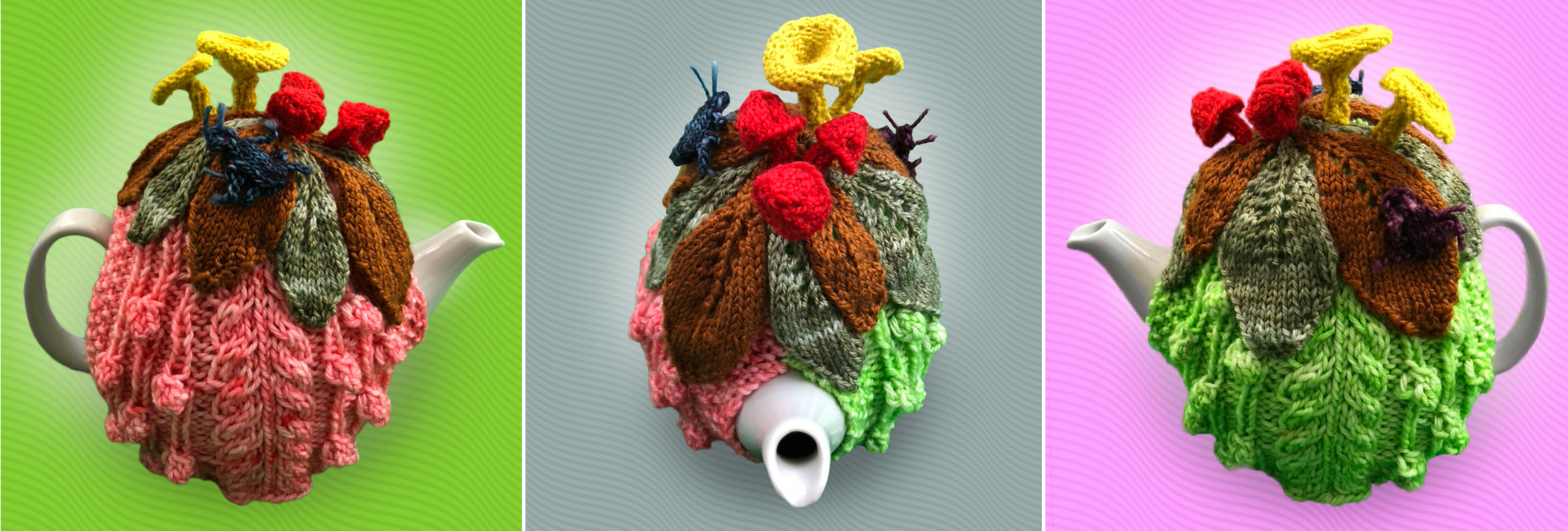 A knitted teapot, with knitted leaves, mushrooms, and bugs on top